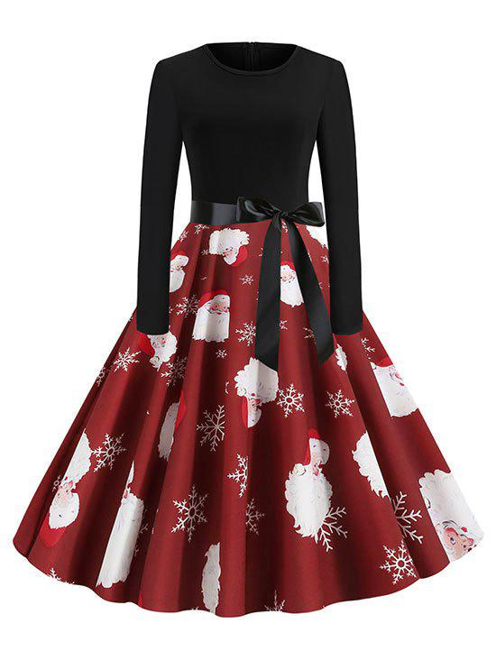 Shop Christmas Santa Claus Belted Party Dress