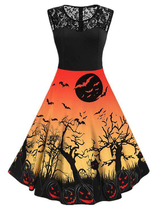 Shop Halloween Pumpkin Cat Print Sleeveless Dress