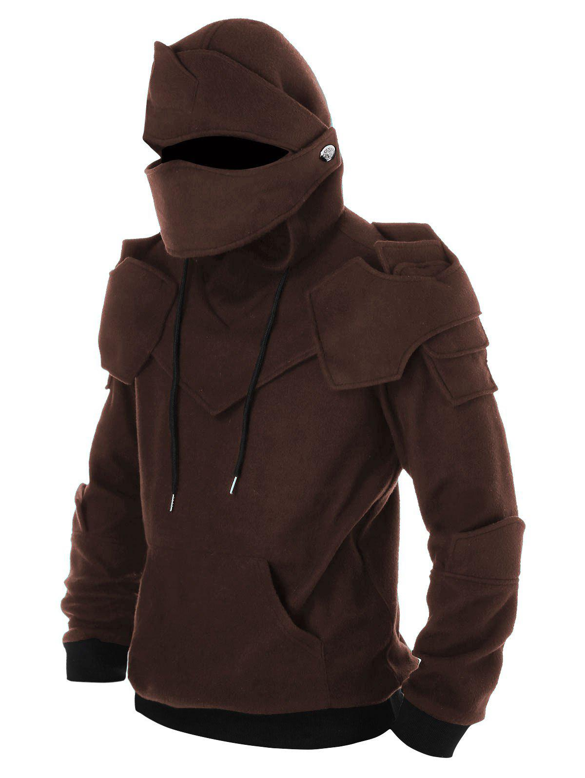 Latest Drawstring Kangaroo Pocket Soldier Mask Pullover Hoodie