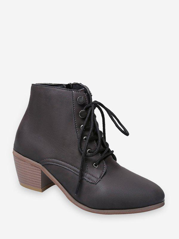 Outfit Pointed Toe Stacked Block Heel Ankle Boots