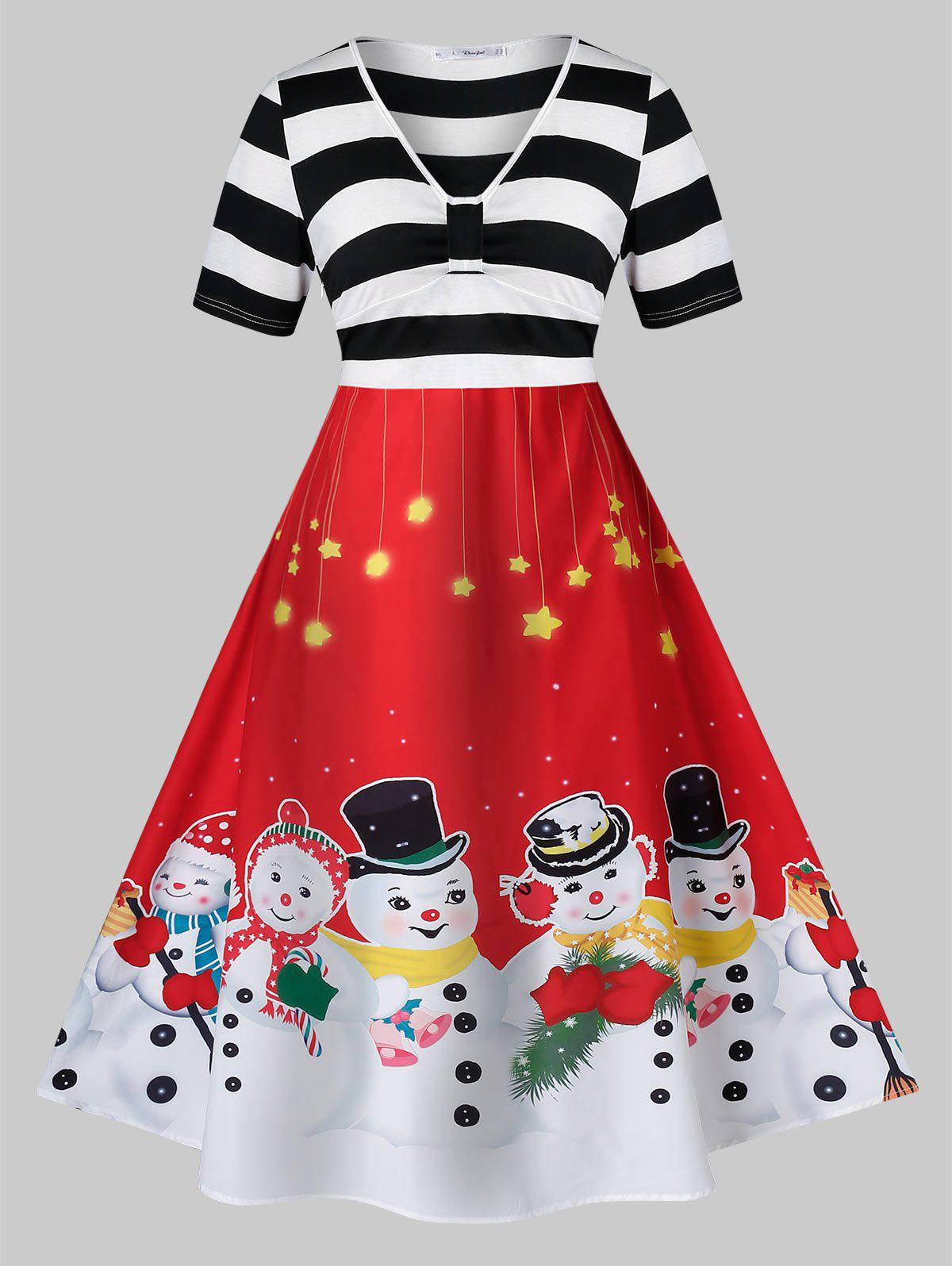Affordable Plus Size A Line Christmas V Neck Snowman Print Dress