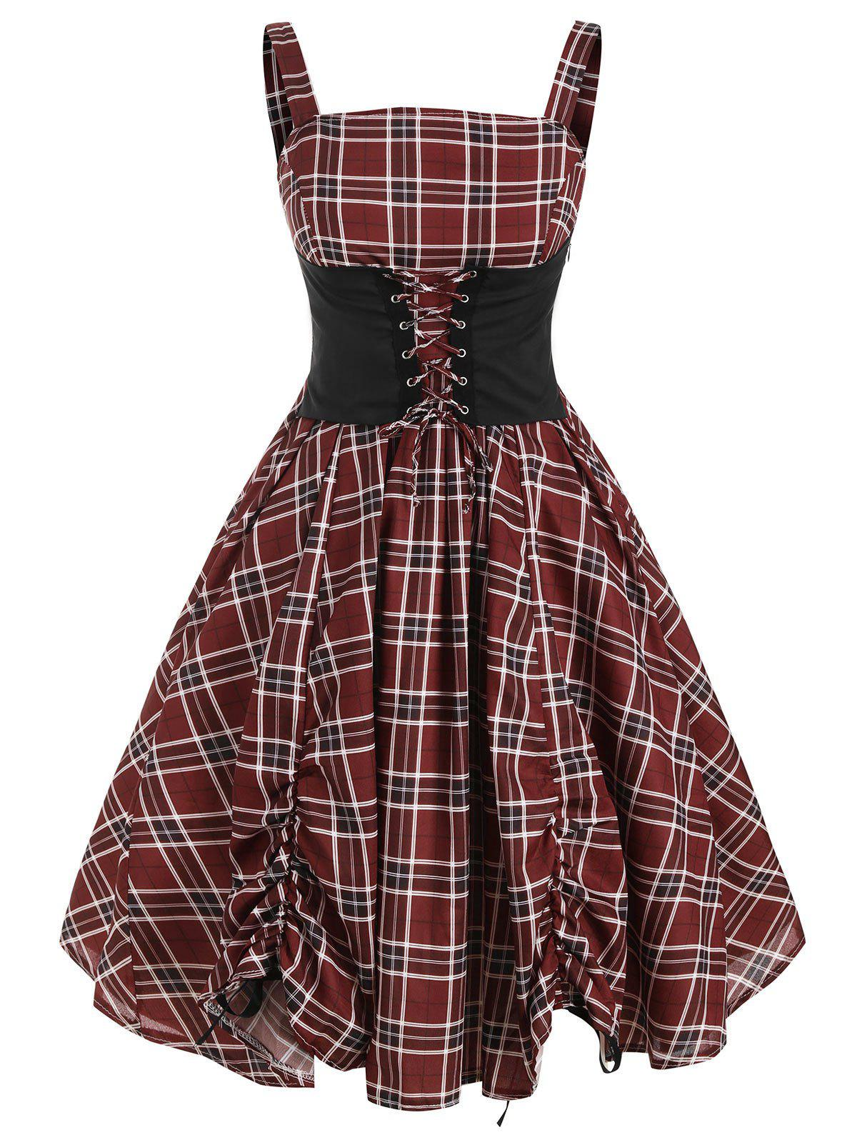 Fashion Lace Up Plaid Ruched Tied A Line Dress