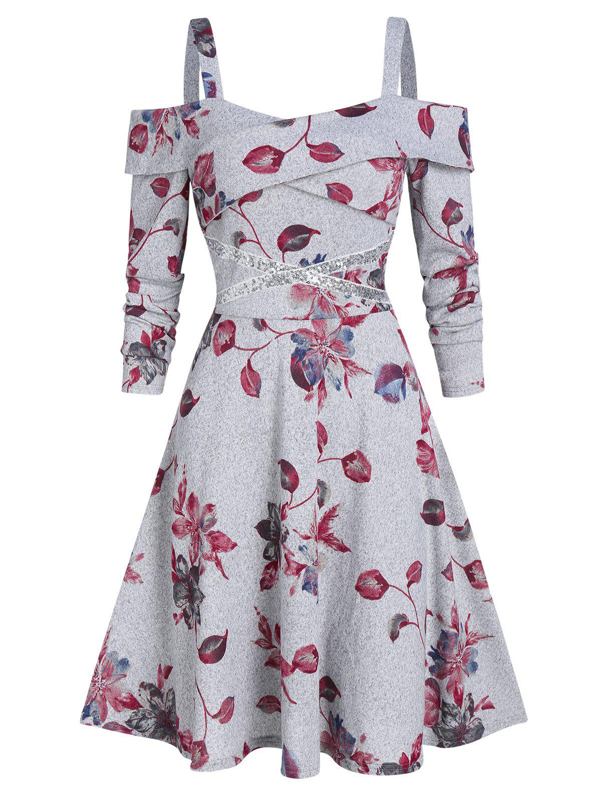 Buy Open Shoulder Floral Print Fit And Flare Dress
