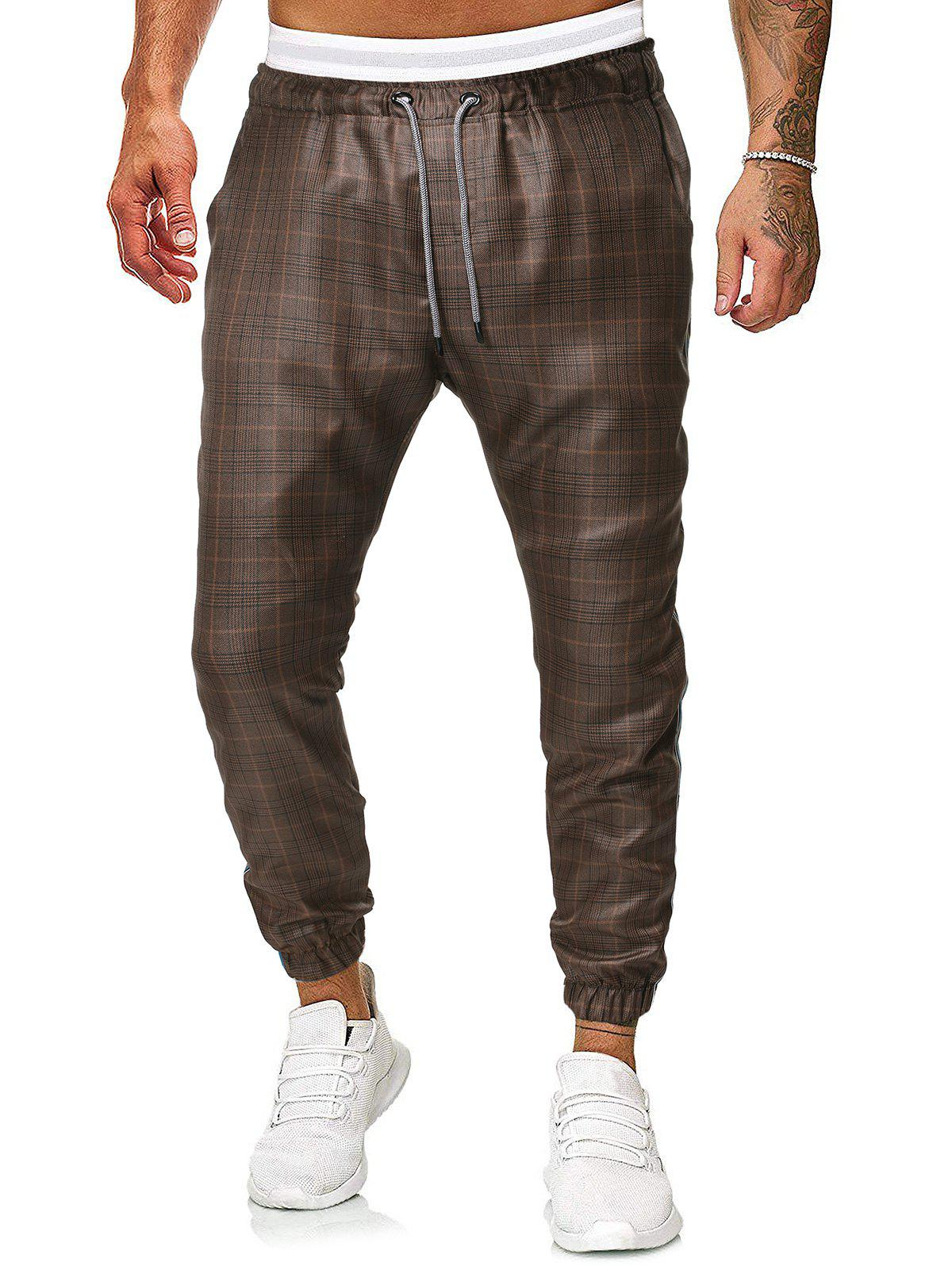 Pantalon de Jogging Motif à Carreaux à Cordon café 2XL