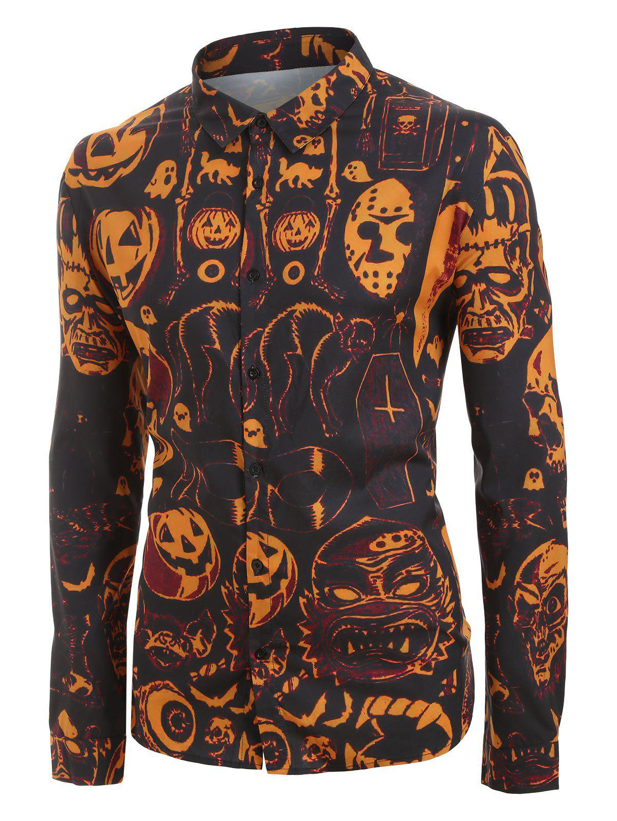 Outfit Plus Size Halloween Pumpkin and Skull Print Button Up Long Sleeve Shirt