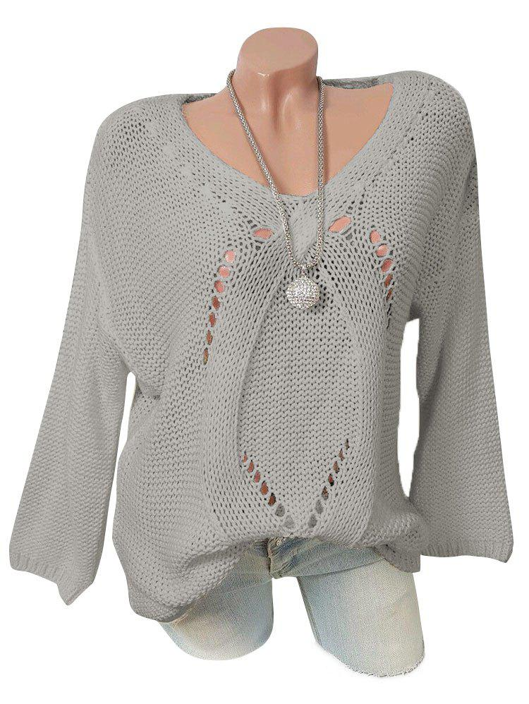 Affordable Plus Size Pointelle Knit Tunic Sweater