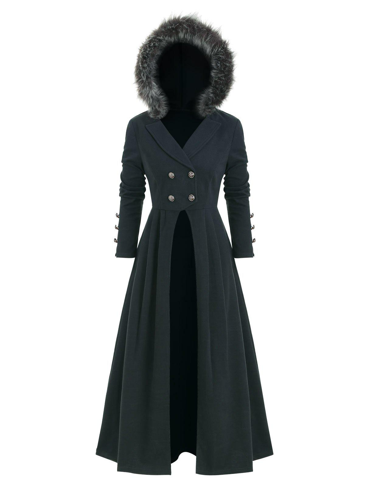 Outfits Back Lace Up Asymmetric Fur Trim Hooded Coat
