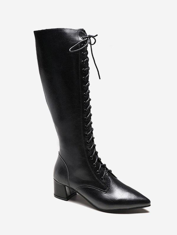 Chic Zipper Back Knee High Pointed Toe Boots