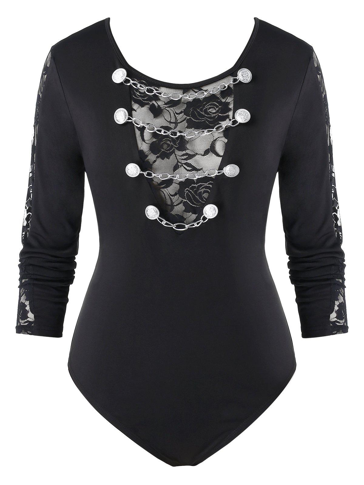Buy Plus Size Lace Panel Chains Fitted Bodysuit