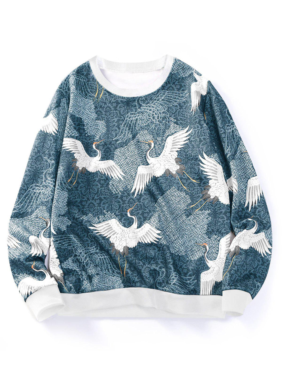 Fashion Flying Crane Floral Print Crew Neck Sweatshirt