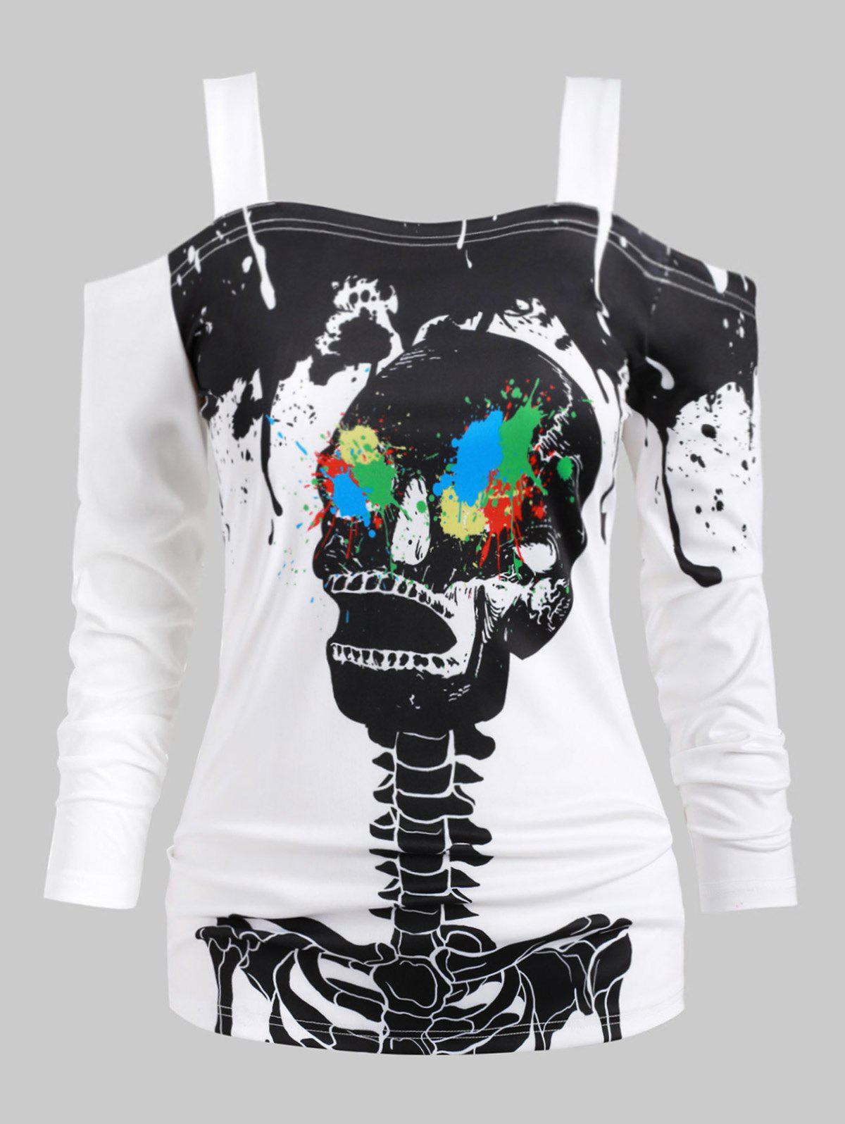 Affordable Halloween Plus Size Splatter Paint Skeleton Print T Shirt