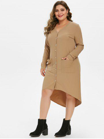 Pockets Button Up Ribbed High Low Plus Size Cardigan
