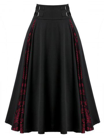 Plus Size A Line Lace Insert Zippered Skirt