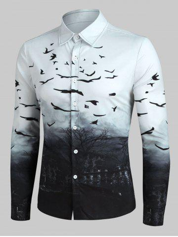 Halloween Castle and Crows Print Button Up Long Sleeve Shirt