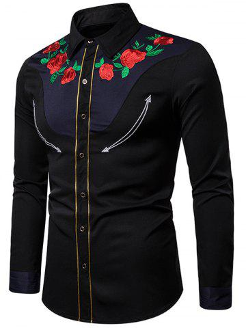 Colorblock Spliced Embroidery Flower Button Shirt