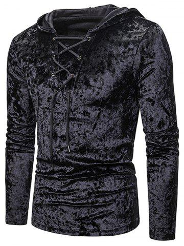 Lace Up Solid Velour Hooded T-shirt