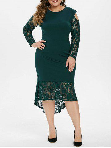 High Low Lace Panel Cold Shoulder Plus Size Prom Dress