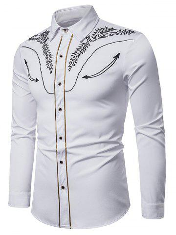 Embroidered Contrast Trim Button Shirt - WHITE - 2XL