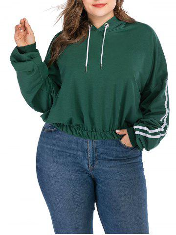 Plus Size Striped Drop Shoulder Hoodie - ARMY GREEN - 1X