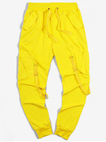 Pantalon Cargo de Sport Long Ruban avec Poches à Cordon - YELLOW - 3XL
