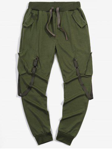 Ribbon Pockets Long Drawstring Sport Cargo Pants
