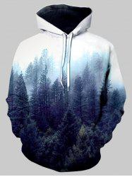 Misty Forest Front Pocket Drawstring Hoodie -