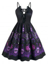 Plus Size Halloween Lace Up Skeleton Floral Vintage Party Dress -