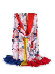 Flower Printed Color-blocking Fringe Beach Scarf -