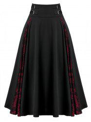 Plus Size A Line Lace Insert Zippered Skirt -