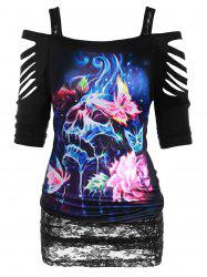 Plus Size Halloween Ripped 3D Butterfly Skull Print T Shirt -