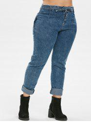 High Waisted Knotted Frayed Skinny Plus Size Jeans -