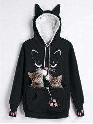 Plus Size Faux Fur Front Pocket Cat Print Graphic Hoodie -
