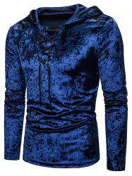 Lace Up Solid Velour Hooded T-shirt -