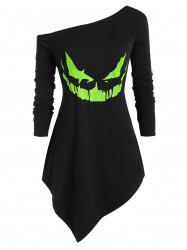 Plus Size Halloween Skew Neck Neon Pumpkin Face Asymmetric Sweatshirt -