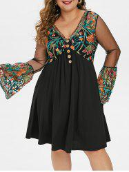 Plus Size Embroidered Bell Sleeve A Line Dress -