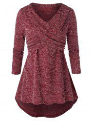 Plus Size Tunic Marled Long Sleeve Sweater -