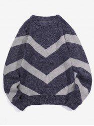 Chevron Graphic Long Sleeve Knitted Sweater -