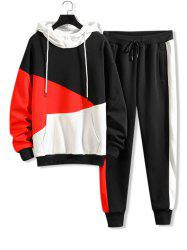 Color-blocking Letter Graphic Hoodie And Pants Set -