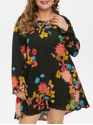 Plus Size Floral Print A Line Dress -