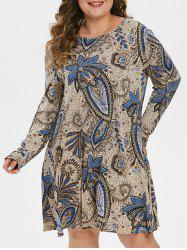 Plus Size Long Sleeve Paisley Print Swing Dress -