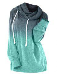 Plus Size Ombre Drawstring Longline Hoodie -