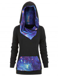 Plus Size 3D Galaxy Print Pullover Hoodie -