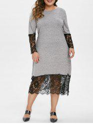 Long Sleeve Lace Panel Marl Casual Plus Size Dress -