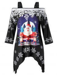 Plus Size Open Shoulder Christmas Square Collar Printed T Shirt -