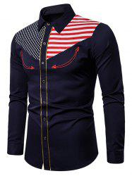 American Flag Star and Stripes Embroidery Contrast Trim Shirt -