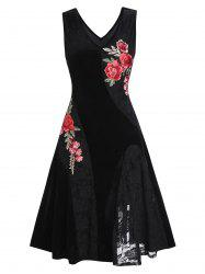 Embroidered Lace Insert A Line Dress -