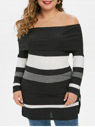 Plus Size Off The Shoulder Fold Over Striped Ribbed Knitwear -