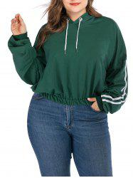 Plus Size Striped Drop Shoulder Hoodie -