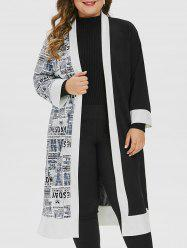 Plus Size Newspaper Print Open Collarless Longline Slit Coat -