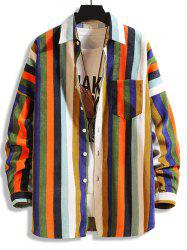 Colorful Striped Pockets Button Up Corduroy Shirt -